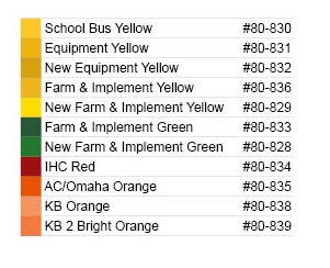 farm and implement color swatches