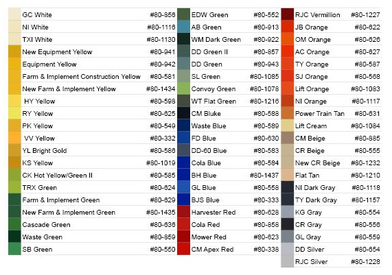 manufacturer equipment colors